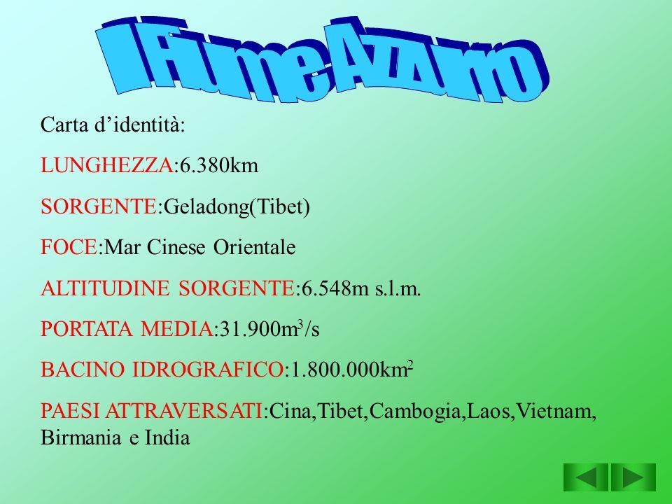 Il Fiume Azzurro Carta d'identità: LUNGHEZZA:6.380km