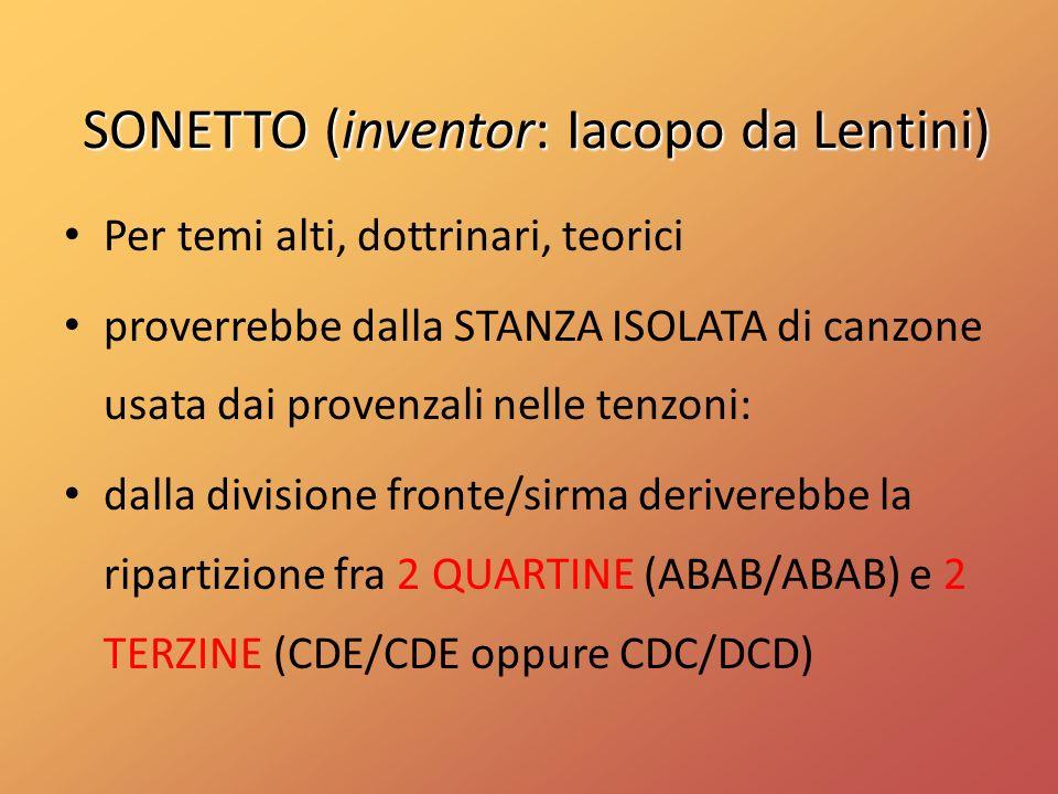 SONETTO (inventor: Iacopo da Lentini)