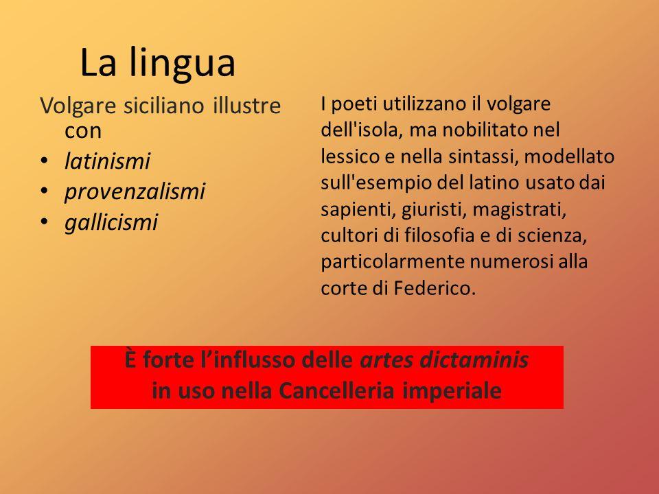 La lingua Volgare siciliano illustre con latinismi provenzalismi