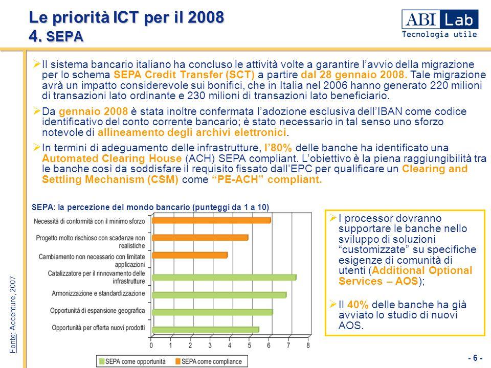 Le priorità ICT per il 2008 4. SEPA