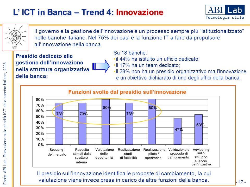 L' ICT in Banca – Trend 4: Innovazione