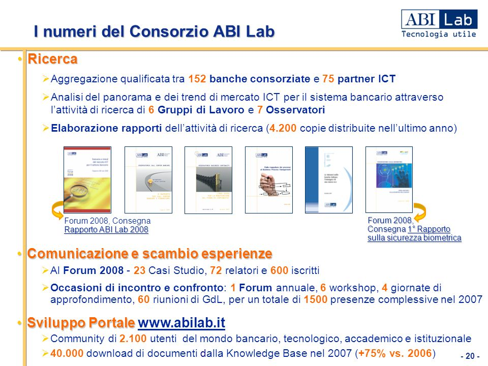 I numeri del Consorzio ABI Lab