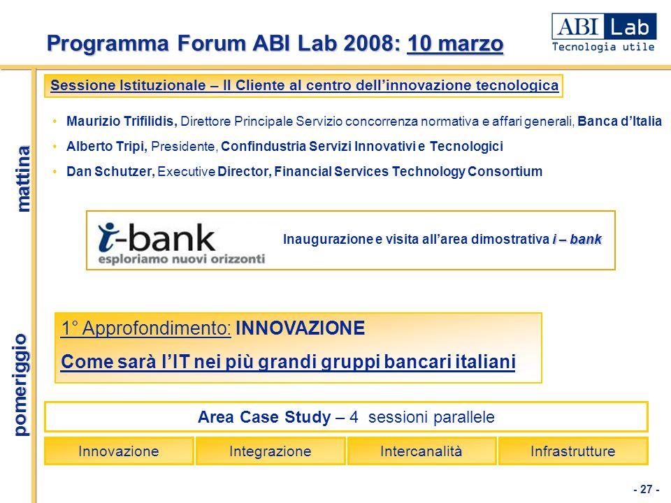 Programma Forum ABI Lab 2008: 10 marzo