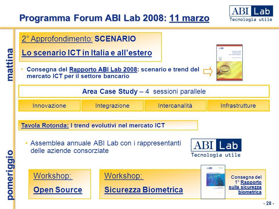 Programma Forum ABI Lab 2008: 11 marzo