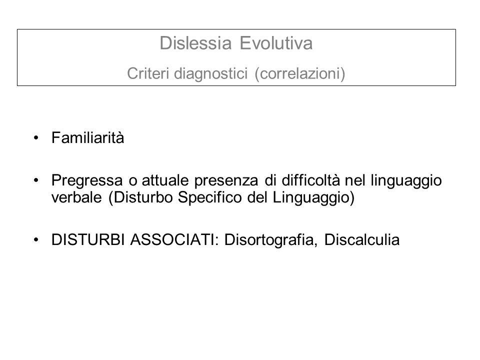 Criteri diagnostici (correlazioni)