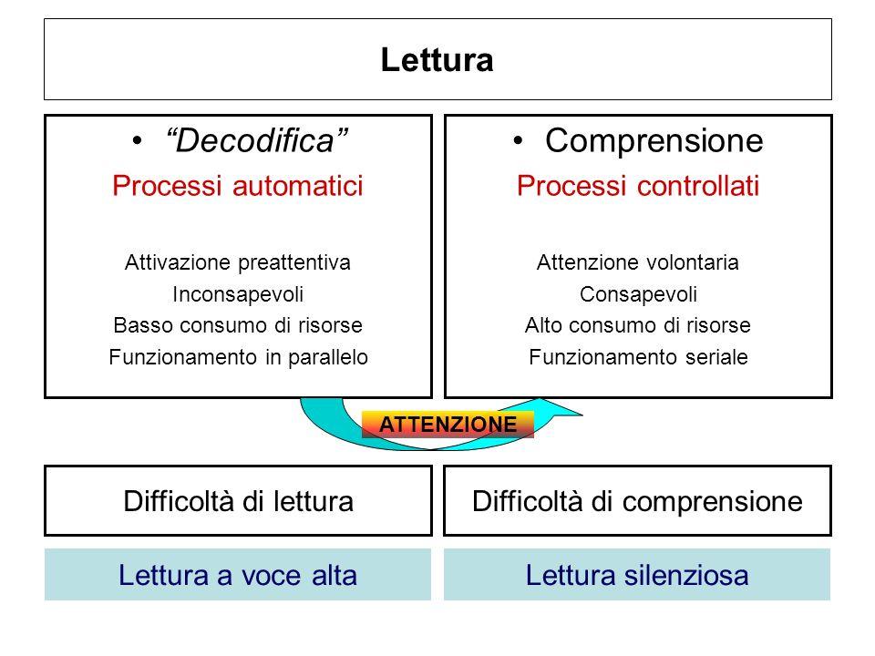 Lettura Decodifica Comprensione Processi automatici