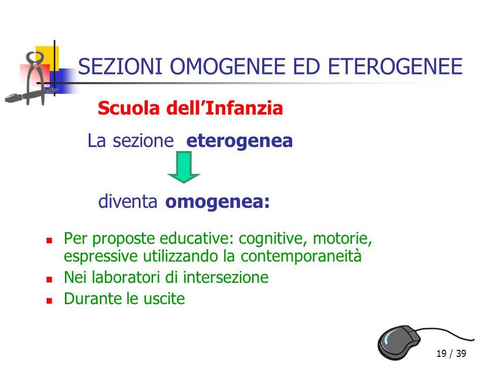 SEZIONI OMOGENEE ED ETEROGENEE