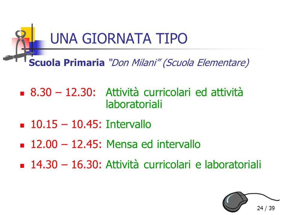 UNA GIORNATA TIPO Scuola Primaria Don Milani (Scuola Elementare) 8.30 – 12.30: Attività curricolari ed attività laboratoriali.