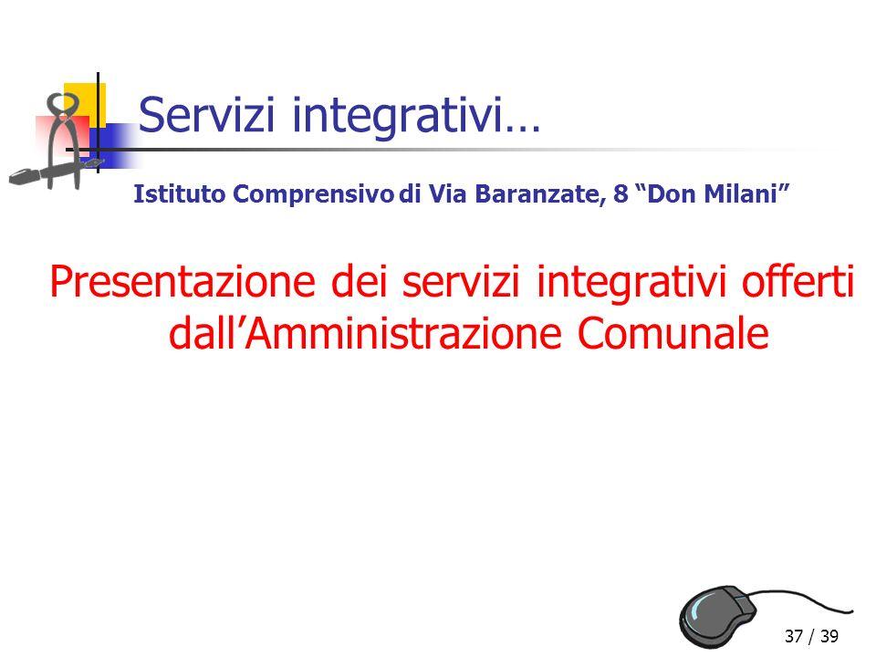 Servizi integrativi… Istituto Comprensivo di Via Baranzate, 8 Don Milani