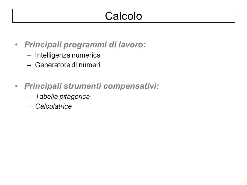 Calcolo Principali programmi di lavoro: