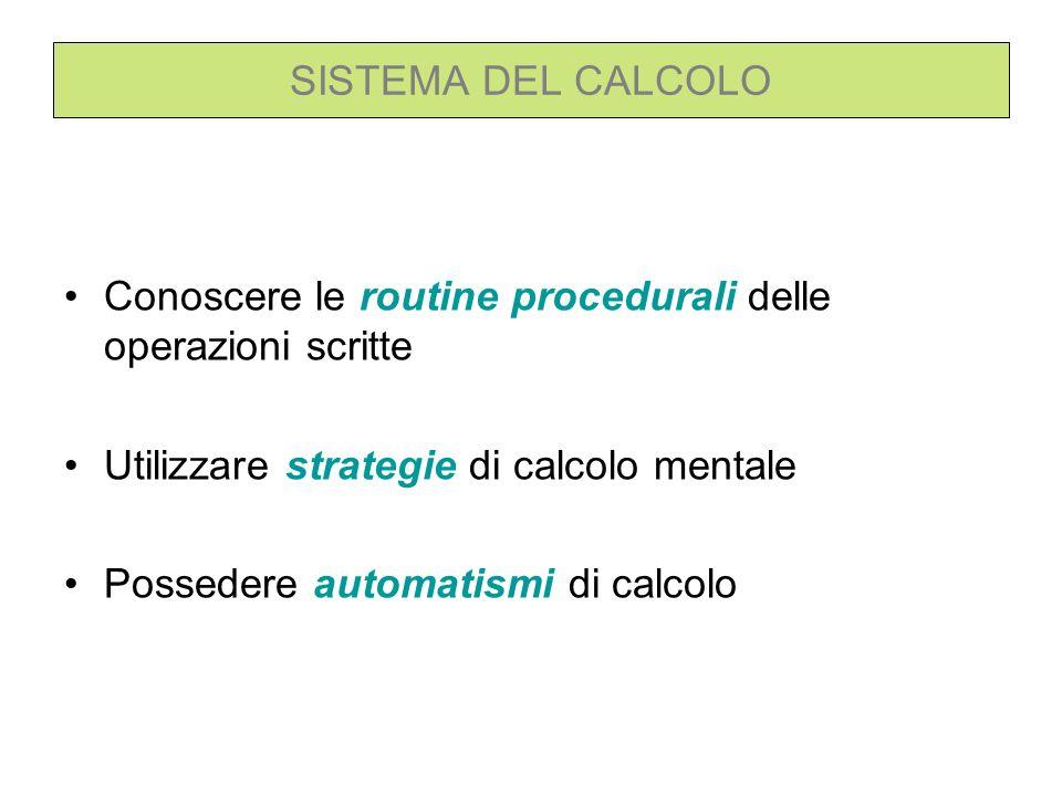 SISTEMA DEL CALCOLO Conoscere le routine procedurali delle operazioni scritte. Utilizzare strategie di calcolo mentale.