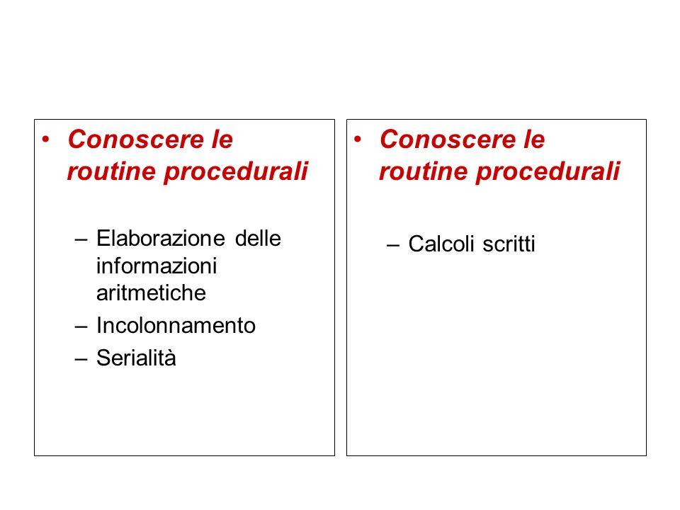 Conoscere le routine procedurali Conoscere le routine procedurali