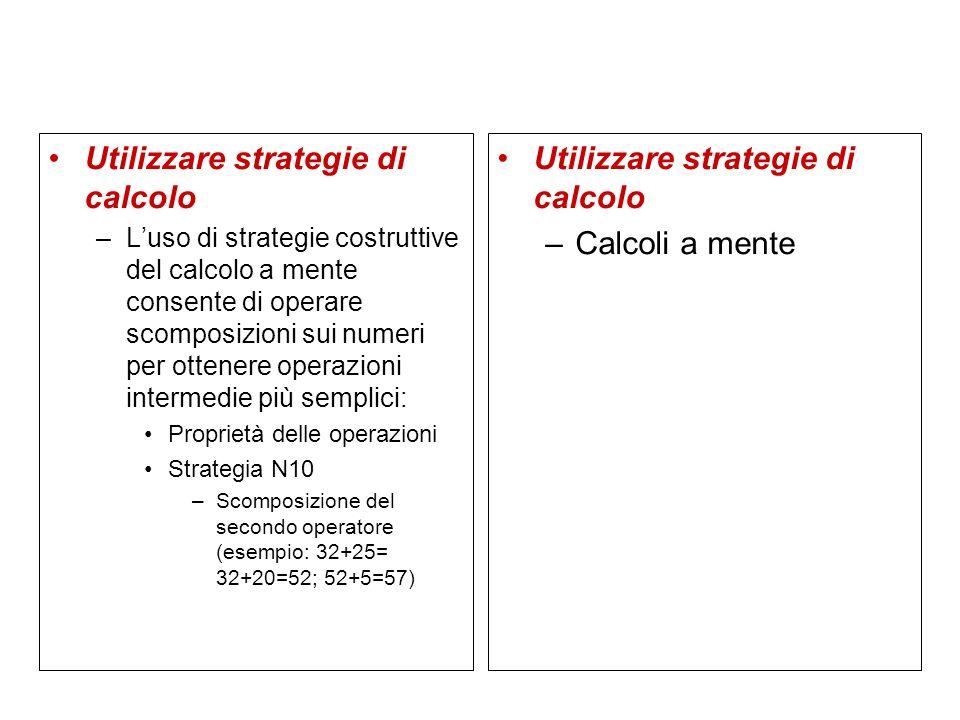 Utilizzare strategie di calcolo Utilizzare strategie di calcolo