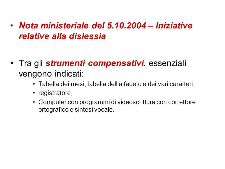 Nota ministeriale del 5.10.2004 – Iniziative relative alla dislessia