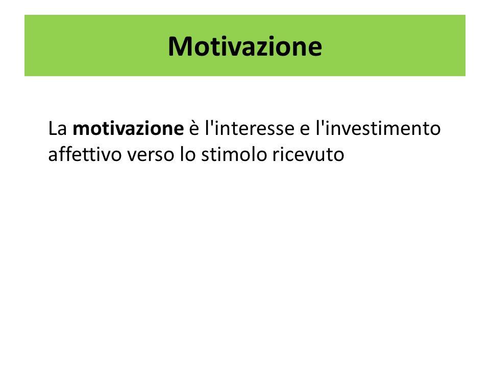 Motivazione La motivazione è l interesse e l investimento affettivo verso lo stimolo ricevuto