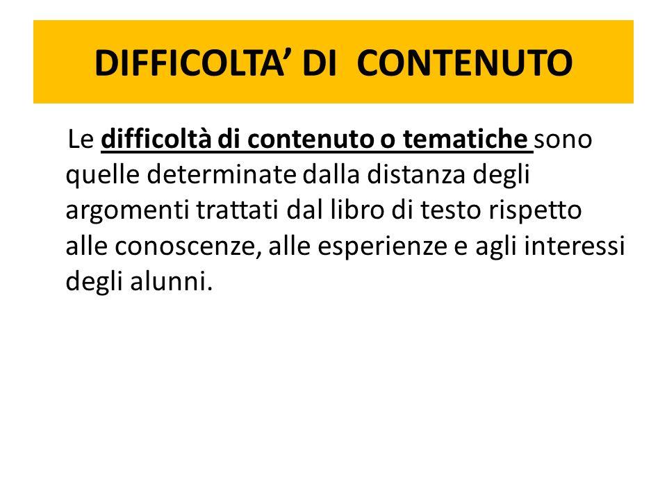 DIFFICOLTA' DI CONTENUTO