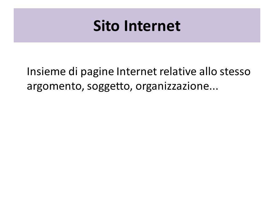 Sito Internet Insieme di pagine Internet relative allo stesso argomento, soggetto, organizzazione...