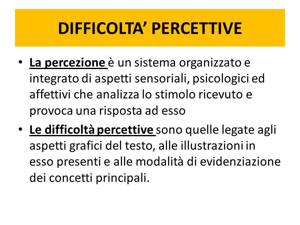 DIFFICOLTA' PERCETTIVE