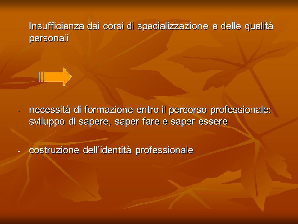 Insufficienza dei corsi di specializzazione e delle qualità personali