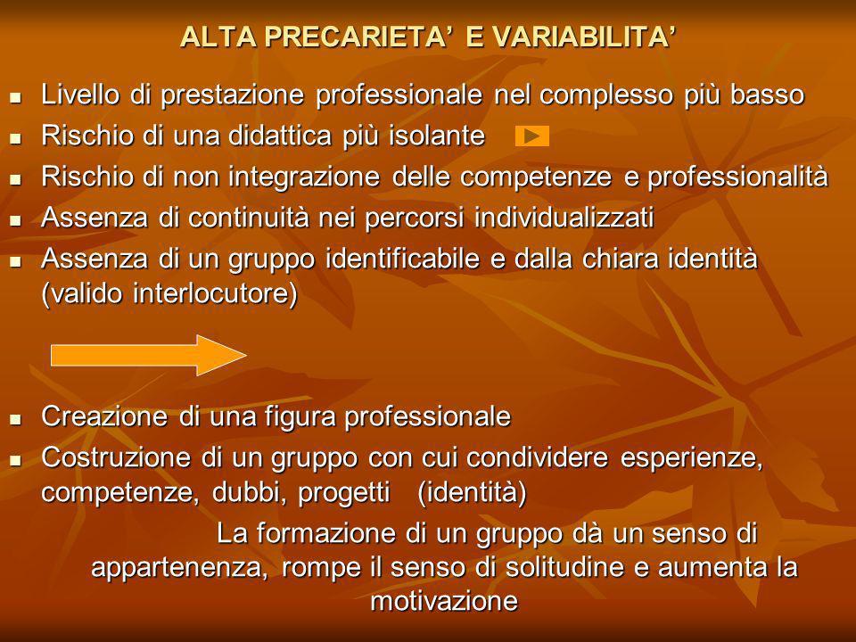 ALTA PRECARIETA' E VARIABILITA'