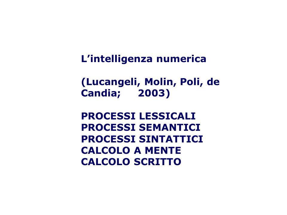 L'intelligenza numerica (Lucangeli, Molin, Poli, de Candia; 2003) PROCESSI LESSICALI PROCESSI SEMANTICI PROCESSI SINTATTICI CALCOLO A MENTE CALCOLO SCRITTO