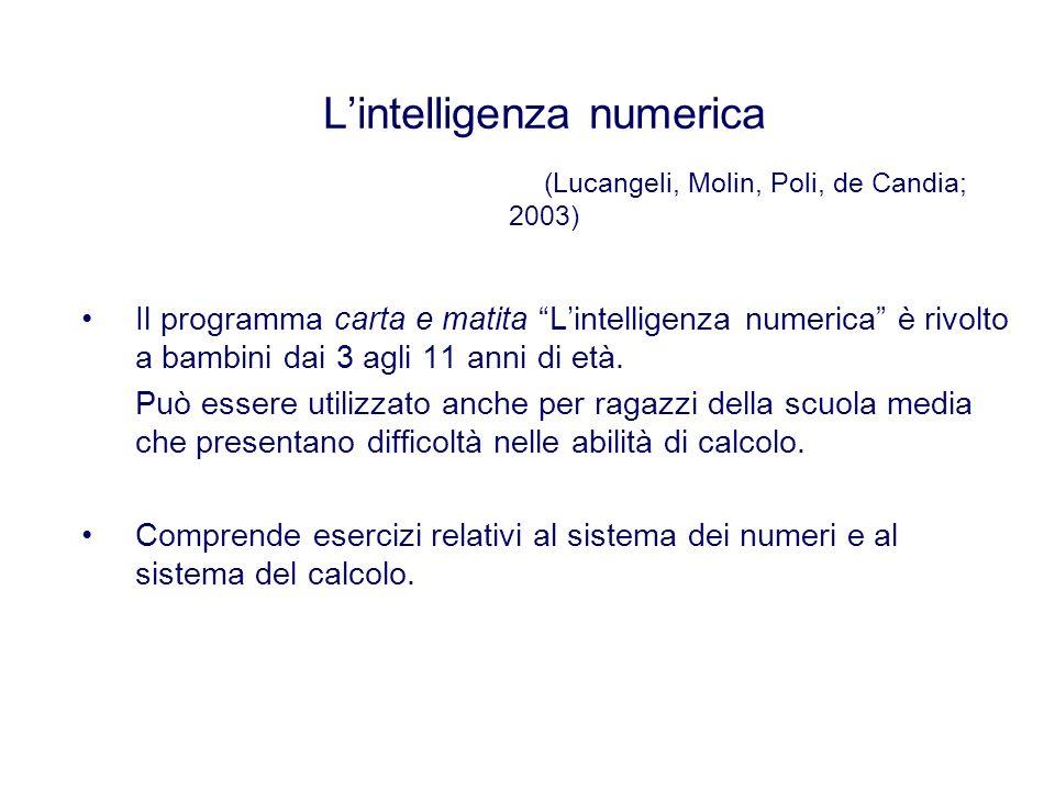 L'intelligenza numerica (Lucangeli, Molin, Poli, de Candia; 2003)