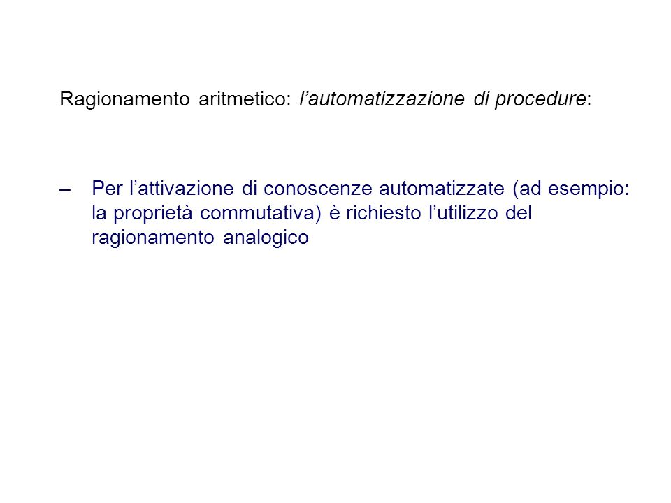 Ragionamento aritmetico: l'automatizzazione di procedure: