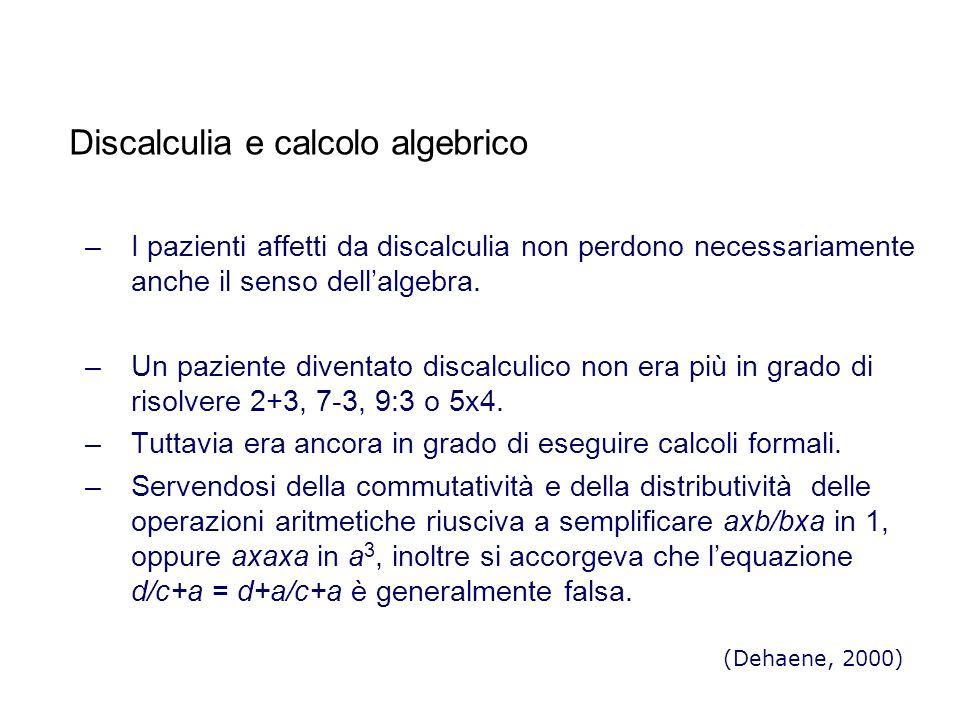 Discalculia e calcolo algebrico