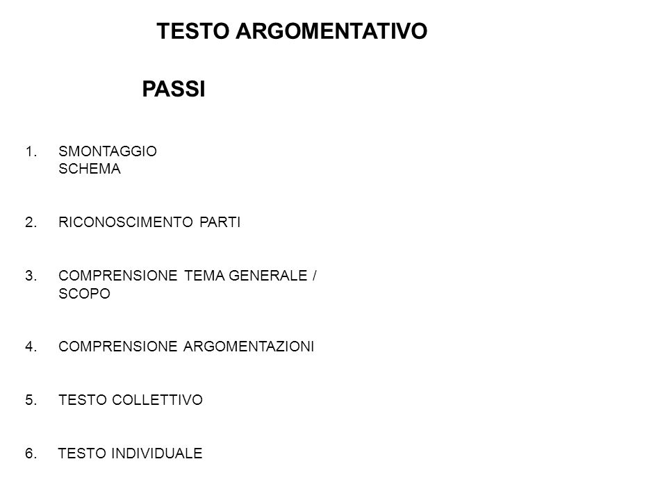 TESTO ARGOMENTATIVO PASSI SMONTAGGIO SCHEMA 2. RICONOSCIMENTO PARTI