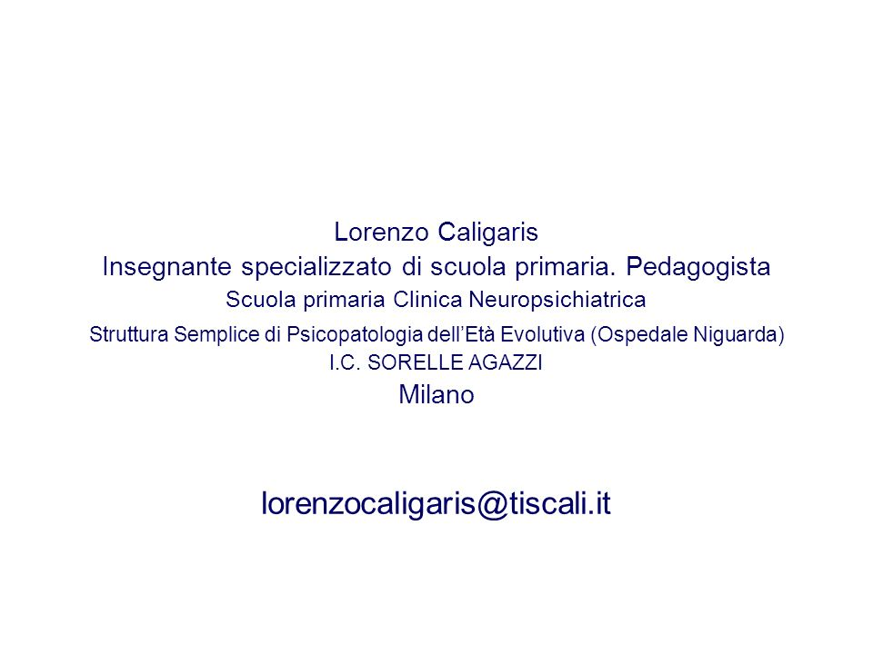 lorenzocaligaris@tiscali.it Lorenzo Caligaris