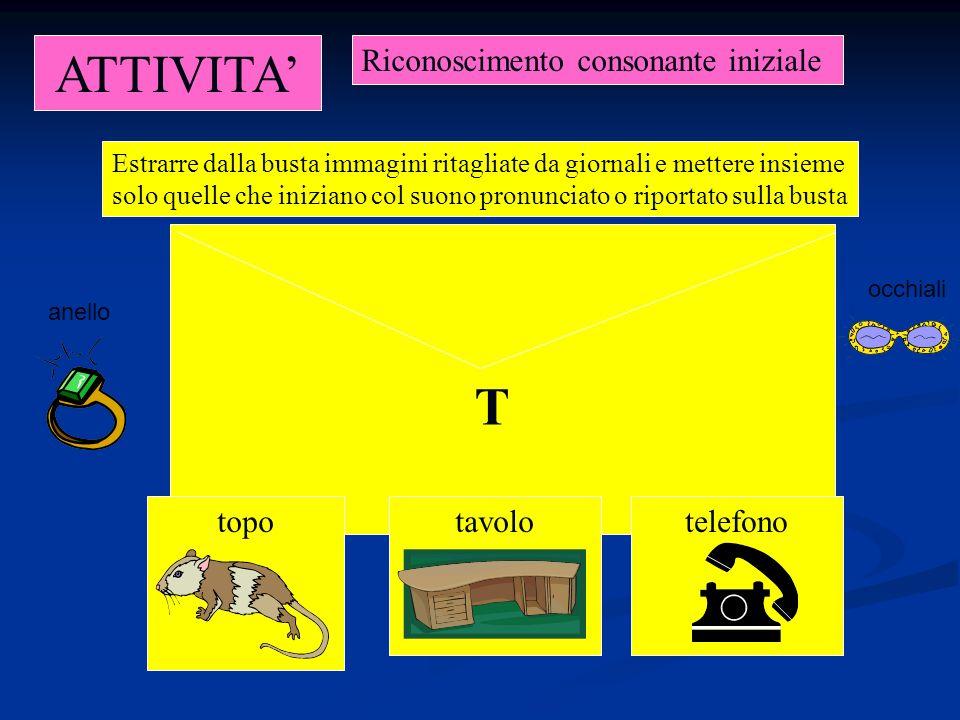 ATTIVITA' T Riconoscimento consonante iniziale topo tavolo telefono