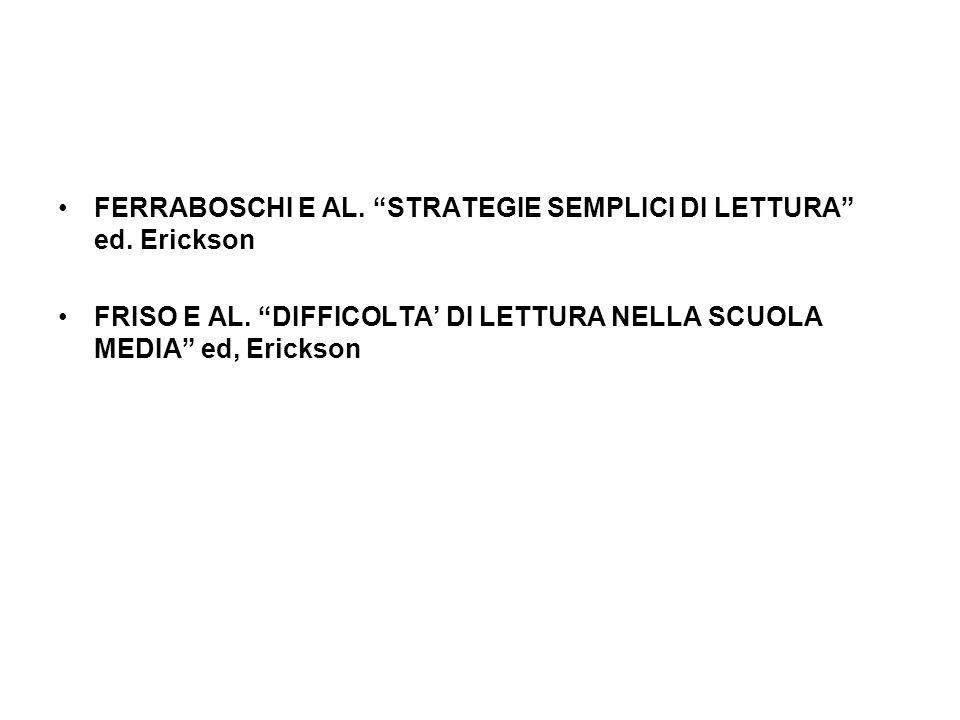 FERRABOSCHI E AL. STRATEGIE SEMPLICI DI LETTURA ed. Erickson