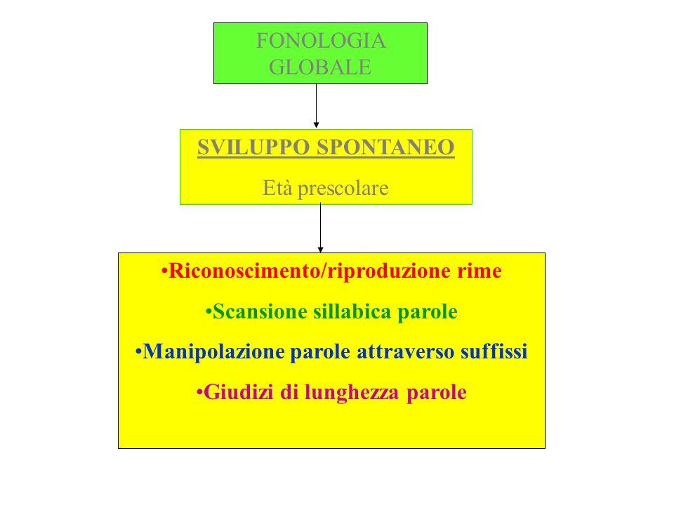 Riconoscimento/riproduzione rime Scansione sillabica parole