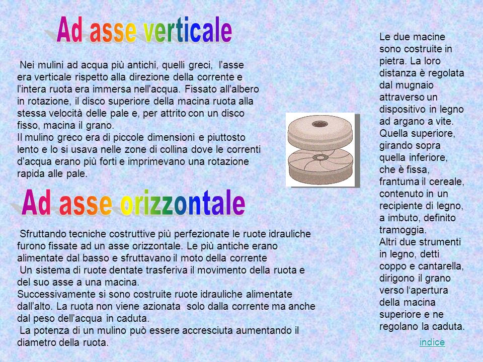 Ad asse verticale Ad asse orizzontale