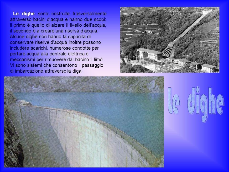 Le dighe sono costruite trasversalmente attraverso bacini d'acqua e hanno due scopi: il primo è quello di alzare il livello dell'acqua, il secondo è a creare una riserva d'acqua.