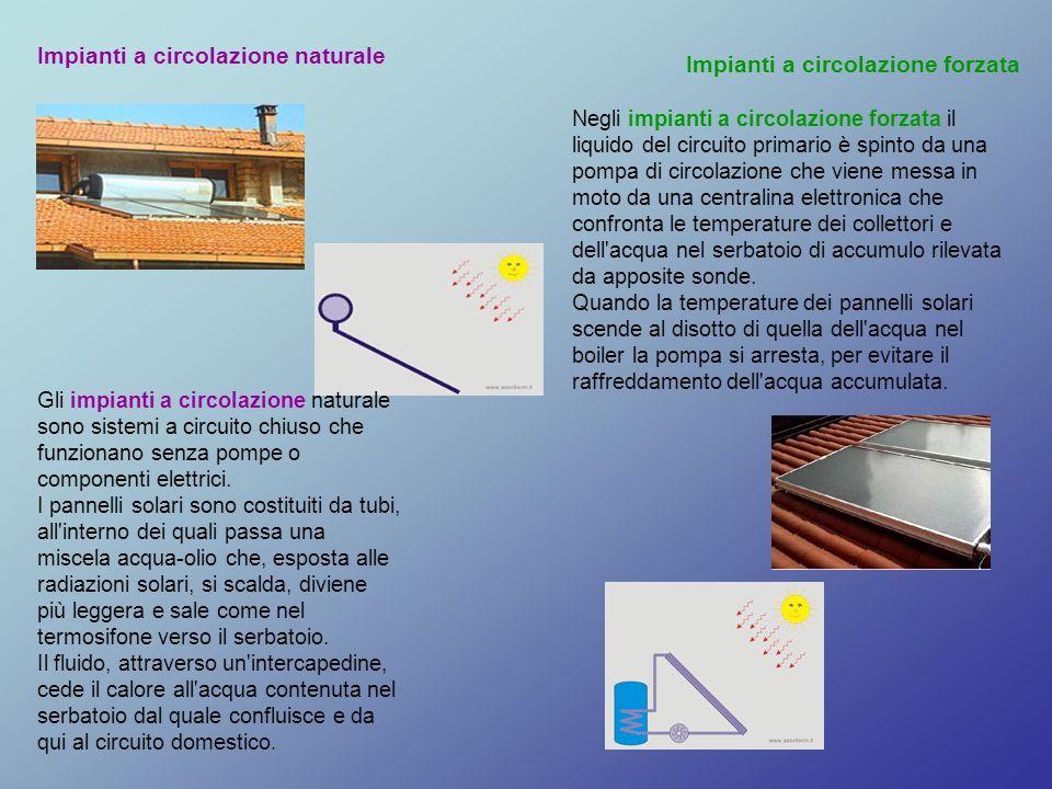 Impianti a circolazione naturale Impianti a circolazione forzata