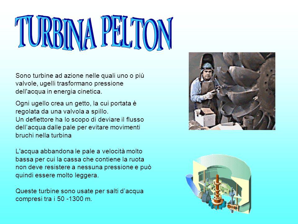 TURBINA PELTON Sono turbine ad azione nelle quali uno o più valvole, ugelli trasformano pressione dell acqua in energia cinetica.