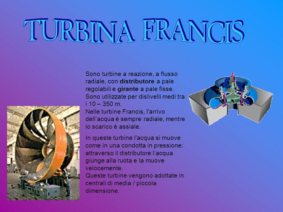 TURBINA FRANCIS Sono turbine a reazione, a flusso radiale, con distributore a pale regolabili e girante a pale fisse.