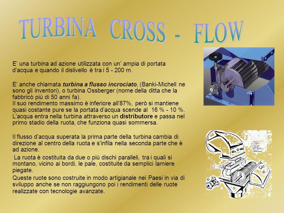 TURBINA CROSS - FLOW E' una turbina ad azione utilizzata con un' ampia di portata d'acqua e quando il dislivello è tra i 5 - 200 m.