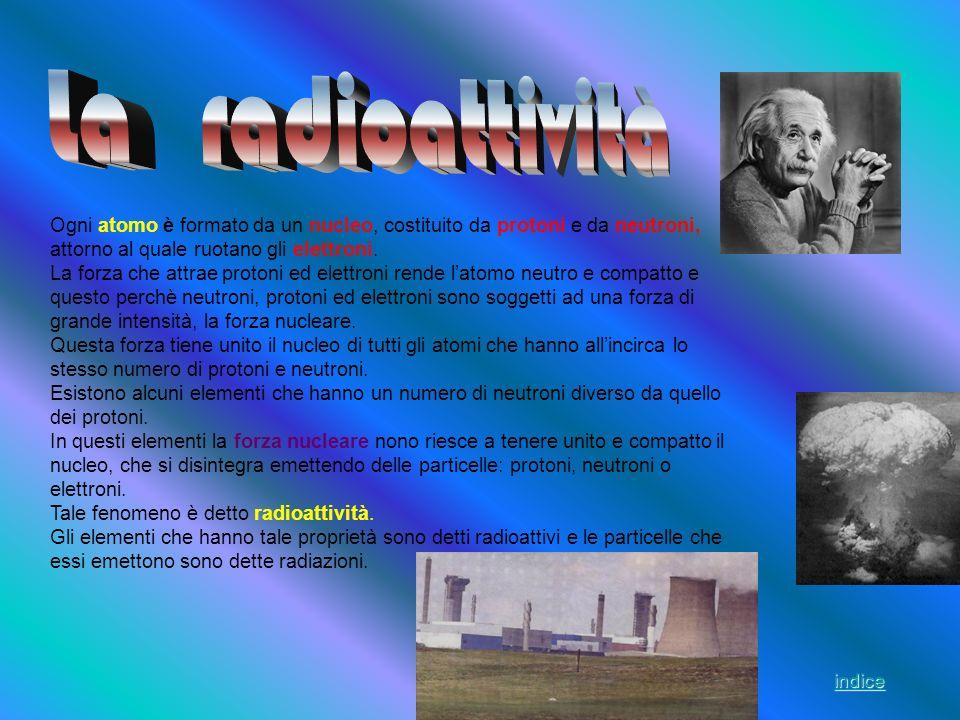 La radioattività Ogni atomo è formato da un nucleo, costituito da protoni e da neutroni, attorno al quale ruotano gli elettroni.