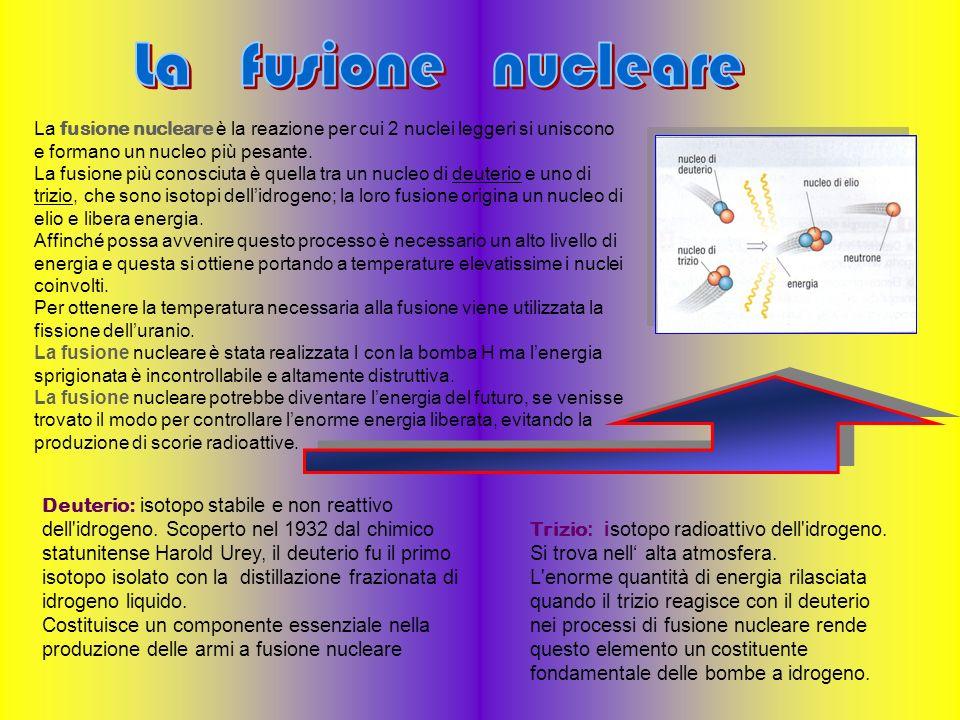 La fusione nucleare La fusione nucleare è la reazione per cui 2 nuclei leggeri si uniscono e formano un nucleo più pesante.
