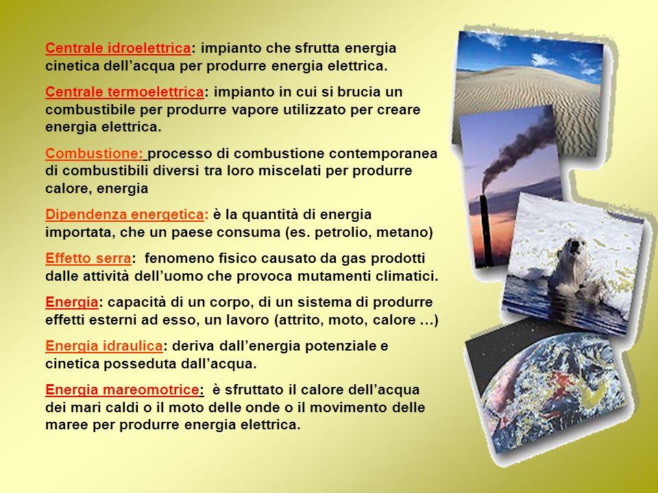Centrale idroelettrica: impianto che sfrutta energia cinetica dell'acqua per produrre energia elettrica.
