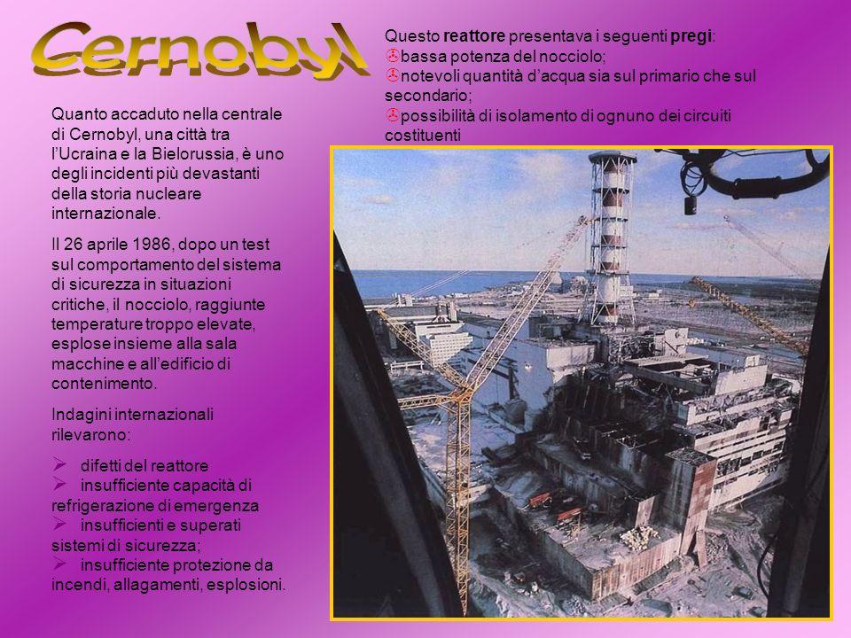 Cernobyl Questo reattore presentava i seguenti pregi: