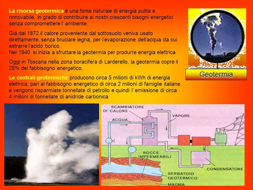 La risorsa geotermica è una fonte naturale di energia pulita e rinnovabile, in grado di contribuire ai nostri crescenti bisogni energetici senza compromettere l' ambiente.