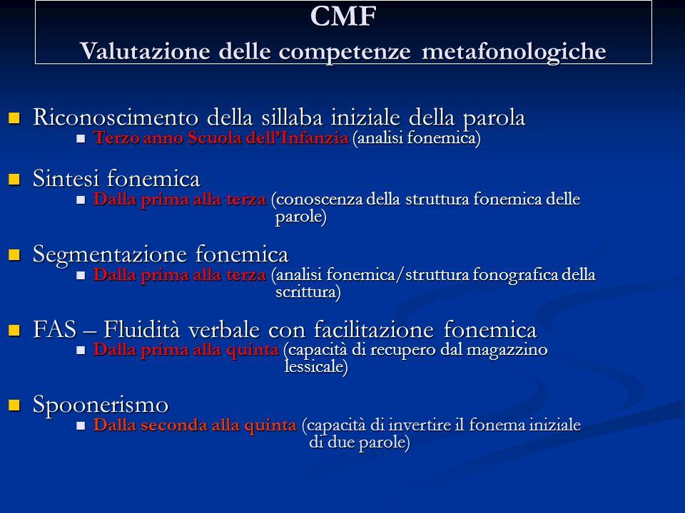 CMF Valutazione delle competenze metafonologiche