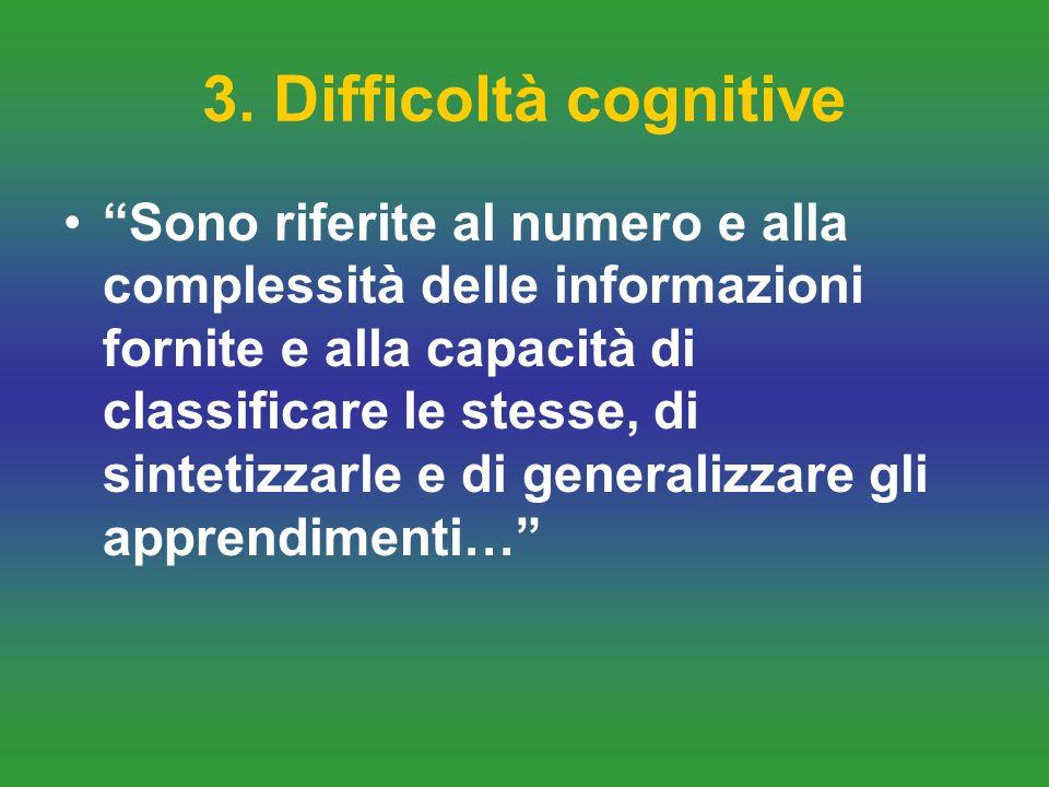 3. Difficoltà cognitive