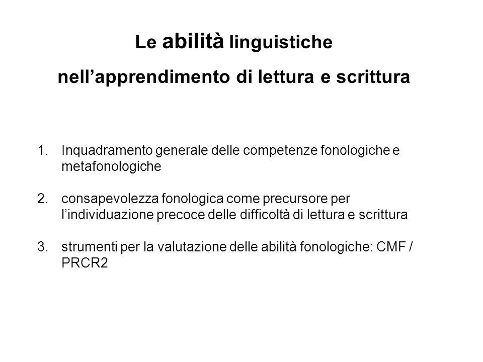 Le abilità linguistiche nell'apprendimento di lettura e scrittura