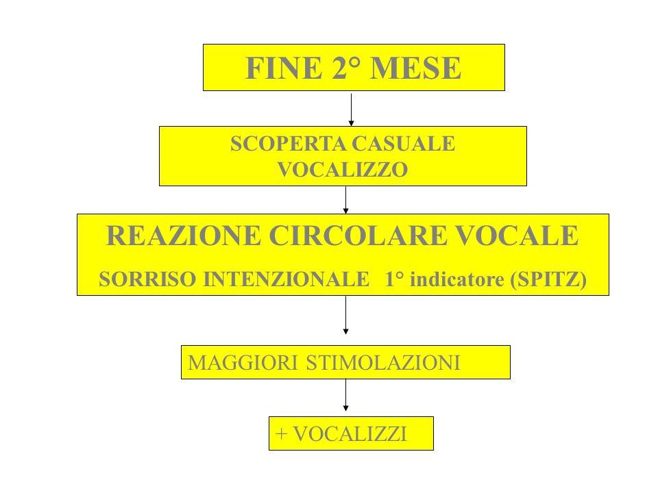 FINE 2° MESE REAZIONE CIRCOLARE VOCALE SCOPERTA CASUALE VOCALIZZO