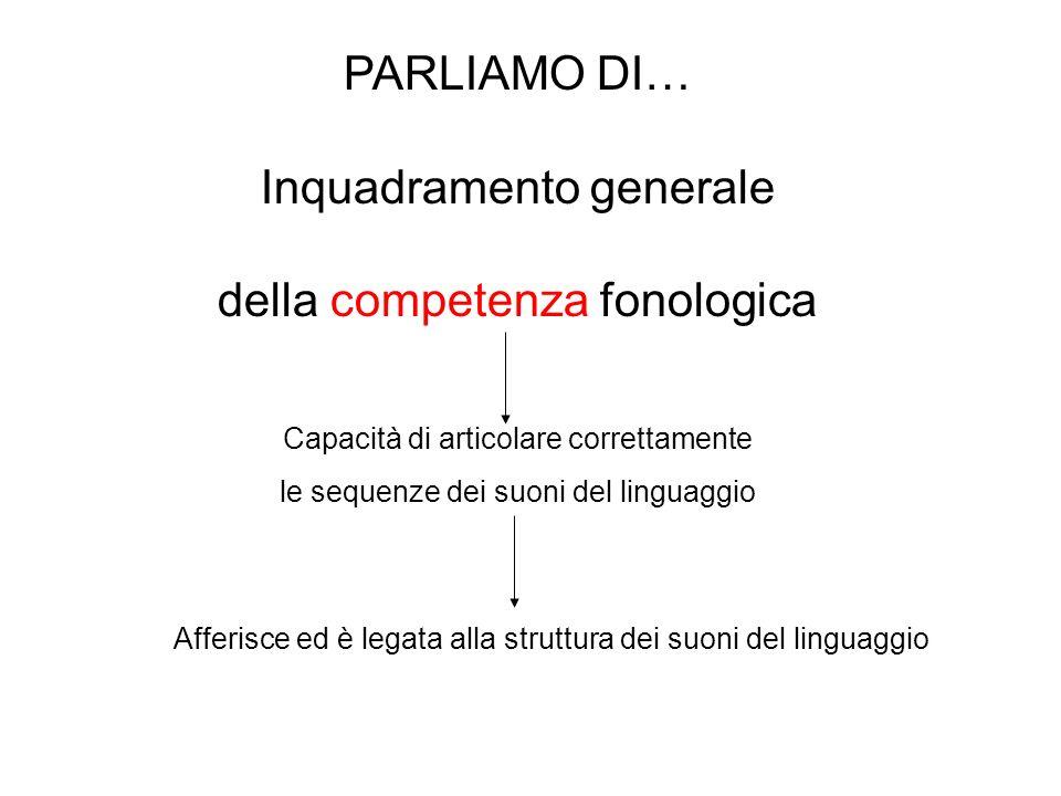 Inquadramento generale della competenza fonologica