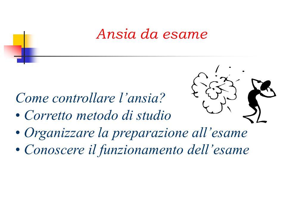 Ansia da esame Come controllare l'ansia Corretto metodo di studio. Organizzare la preparazione all'esame.